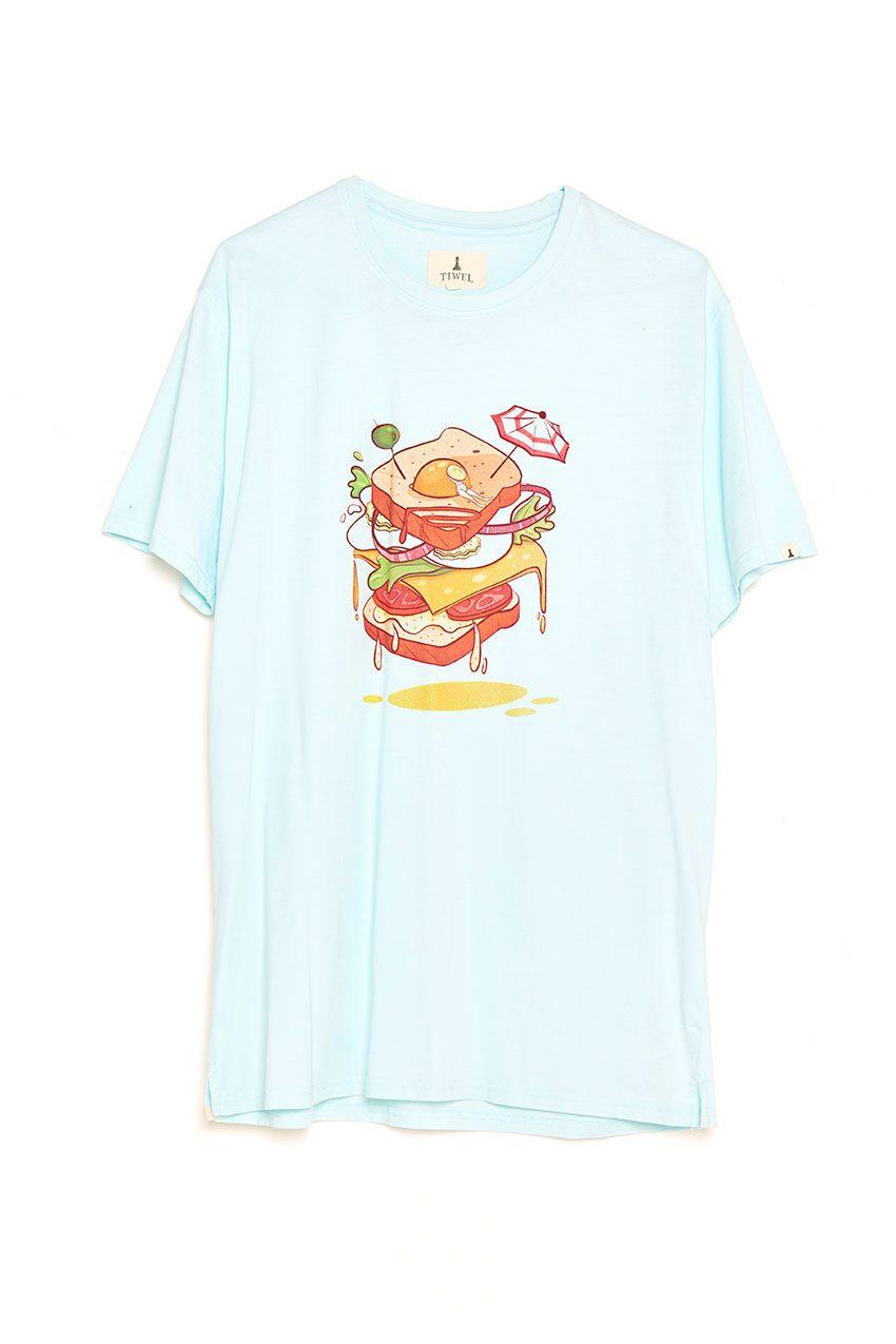 Sandwich Tshirt Tiwel wan blue