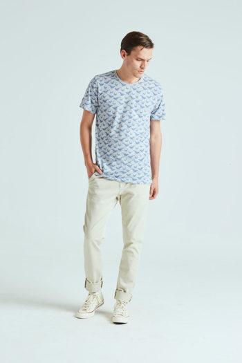 Whale Tshirt Tiwel light grey melange 01