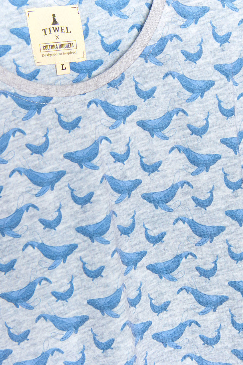 Camiseta Whale Tiwel light grey melange 03