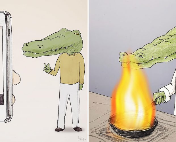 keigo crocodile illustration